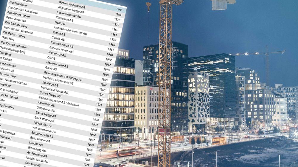 Skattelistene ble offentliggjort i dag. Vi har hentet ut inntekten og formuen til toppene i bygge- og eiendomsbransjen.