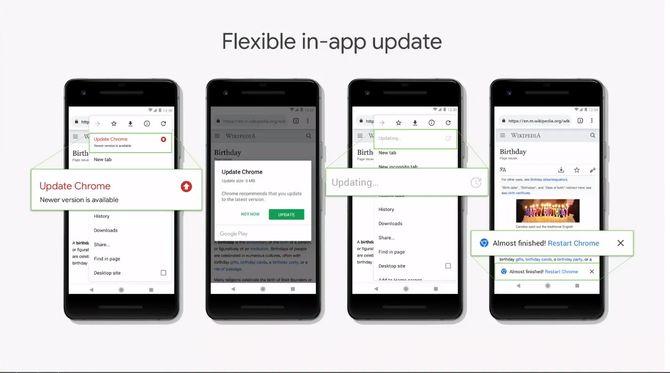 Med Flexible in-app update kan brukeren selv velge når oppdateringen skal installeres.