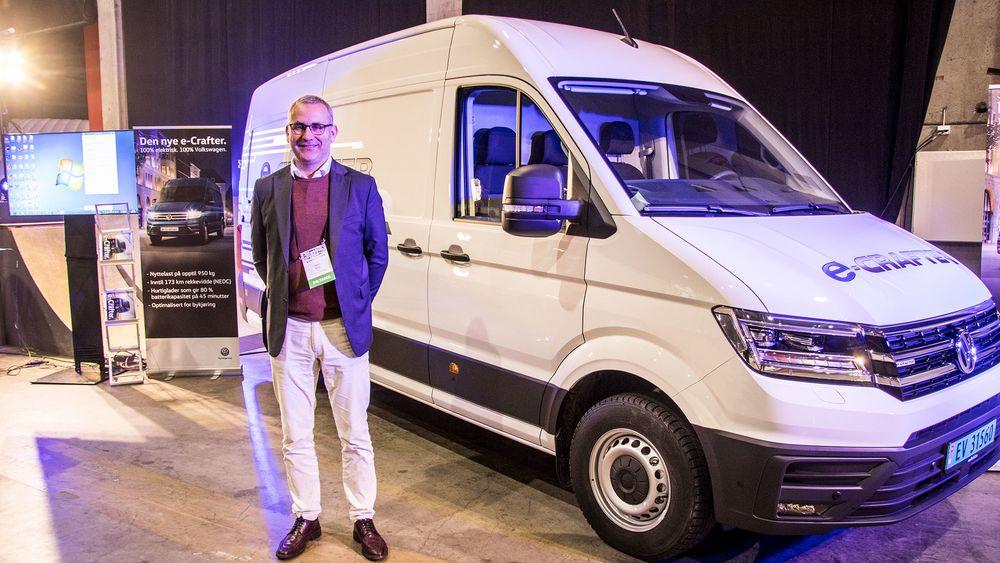 Håkon Wirak, administrerende direktør Volkswagen Nyttekjøretøy viste fram e-Crafter for første gang i Norge, under Zerokonferansen.
