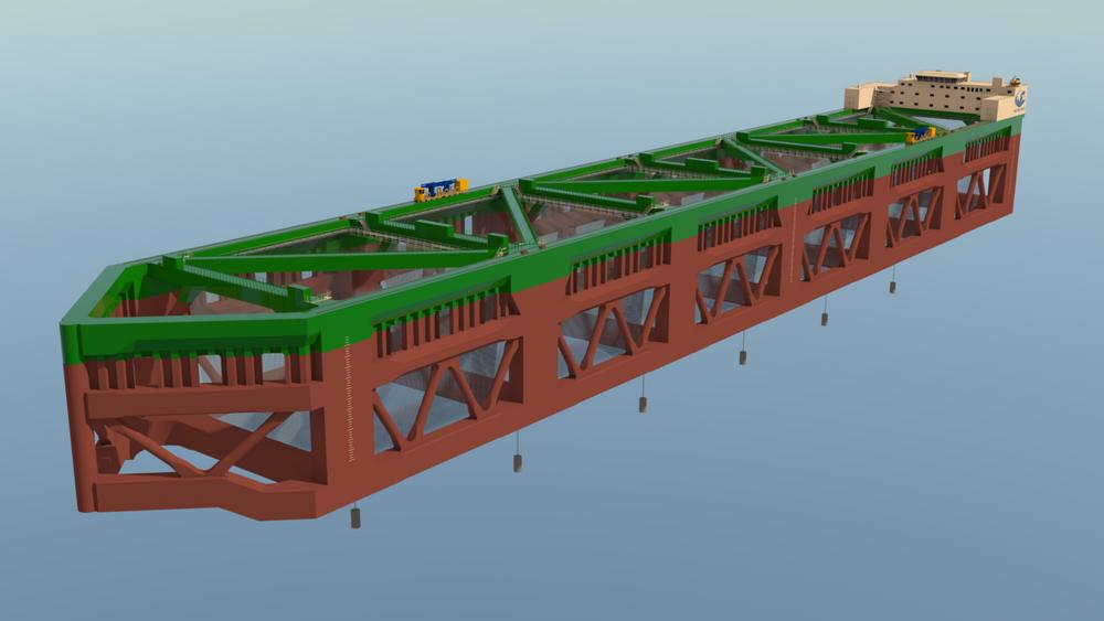 Den første havfarmen skal inneholde om lag 30.000 tonn stål, ifølge designerne. Illustrasjon: Nordlaks.