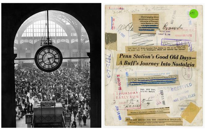 Forsiden og baksiden av et arkivert New York Times-fotografi fra Pennsylvania Station i New York City i 1942.