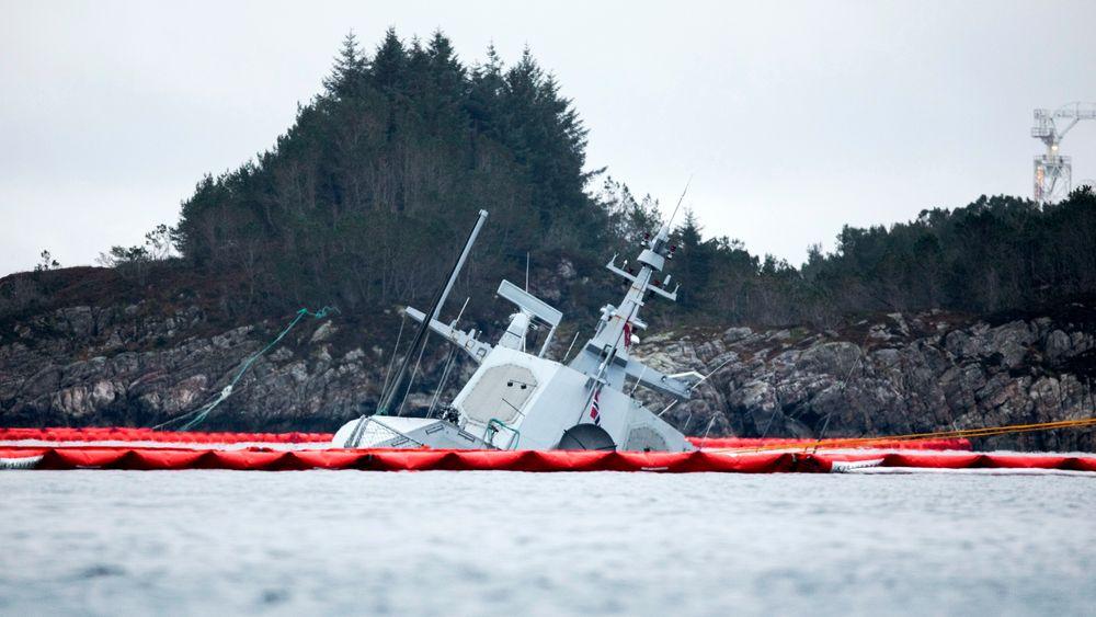 Fregatten KNM Helge Ingstad ligger på havets bunn etter kollisjonen.