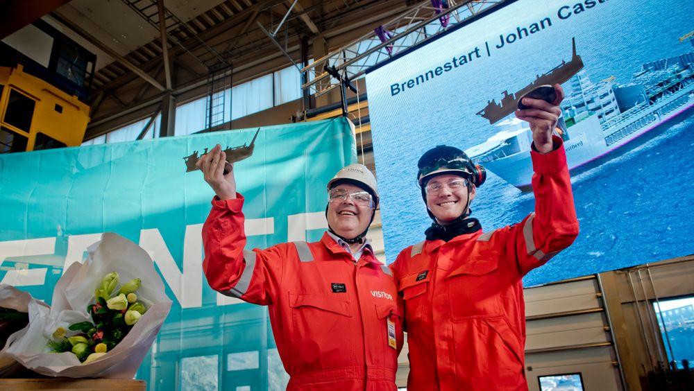 Markering: Arbeidet med Johan Castberg-dekket er nå i gang ved verftet til Kværner på Stord.