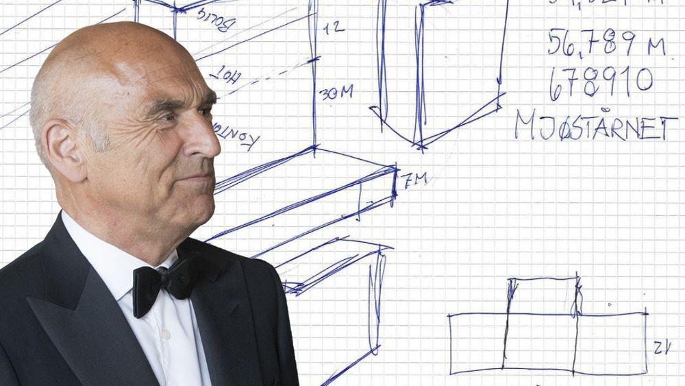 Arthur Buchardts første skisse av Mjøstårnet ble tegnet på et møte hos entreprenøren Hent i februar 2015.