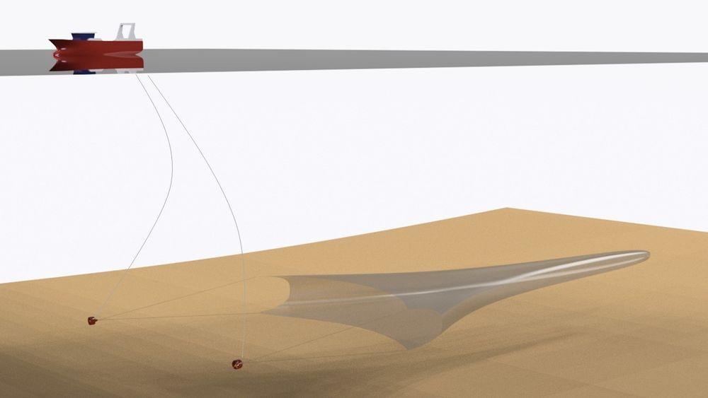 Eco Trawls løsning går ut på i bytte ut tråldørene med thrustere. Illustrasjon: Eco Trawl.