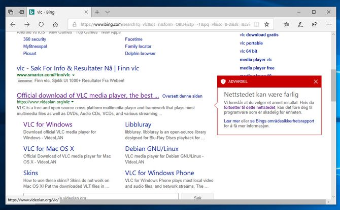 Bing advarer mot den originale VLC-siden, men ikke mot mylderet av uoffisielle nedlastingssteder.