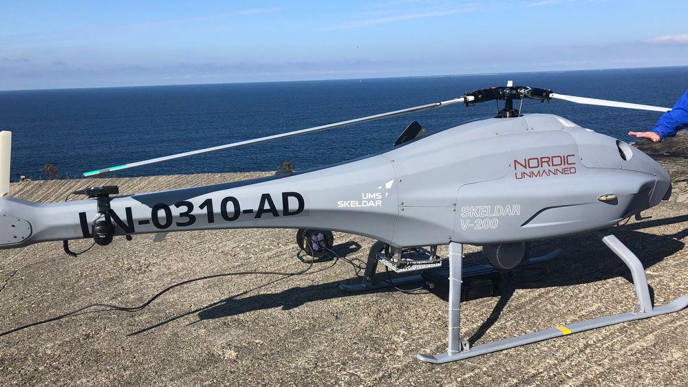 STORE DRONER: Skeldar V-200 som opereres av Nordic Unmanned.