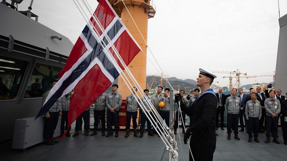 Kommandoheis på KNM «Maud» 16. november på DSME-verftet i Sør-Korea.