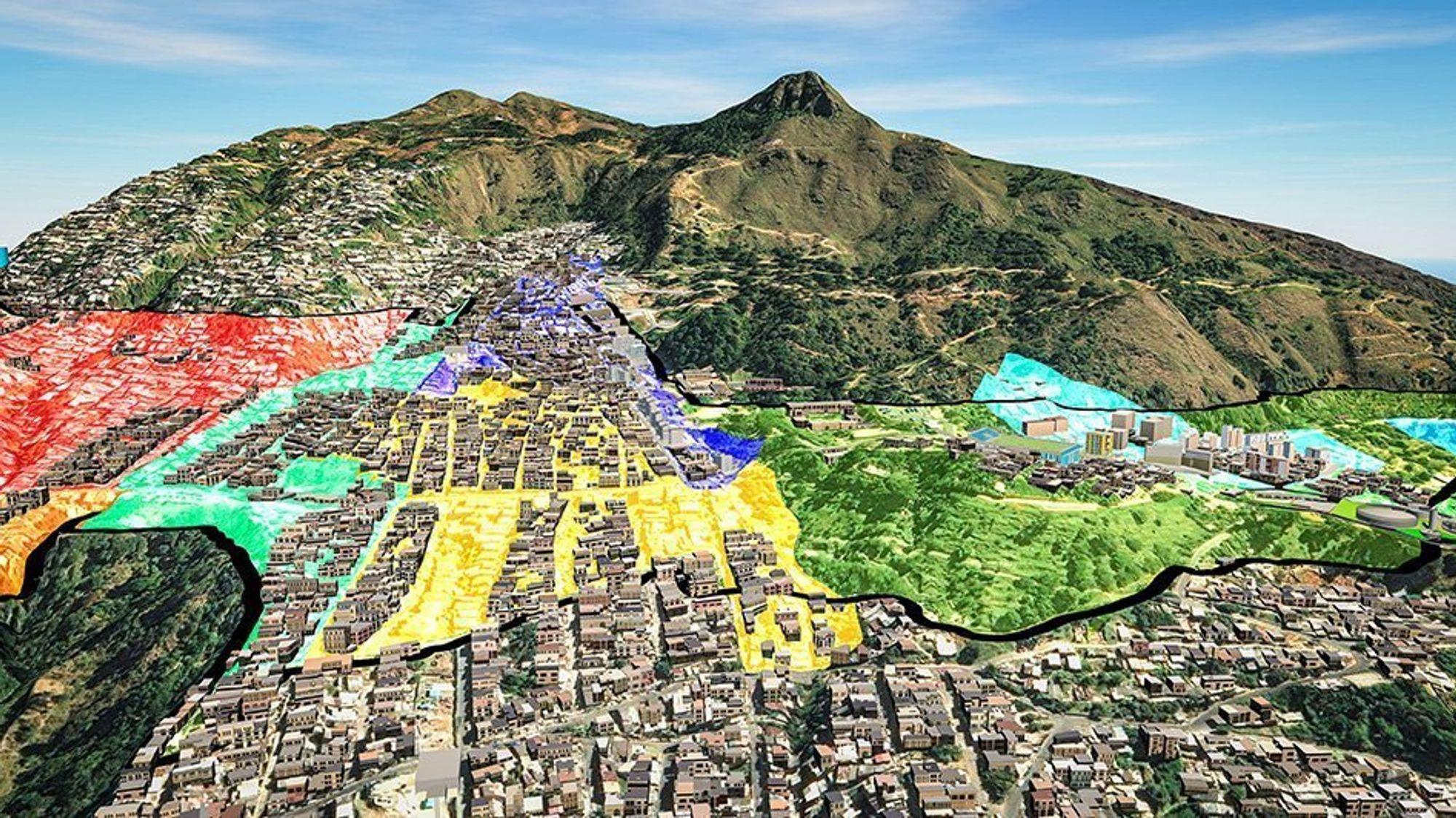 3D-kart viser ulike soner i skredutsatte Medellín.
