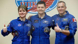 Denne gangen gikk det bra: Tre astronauter på vei til Den internasjonale romstasjonen