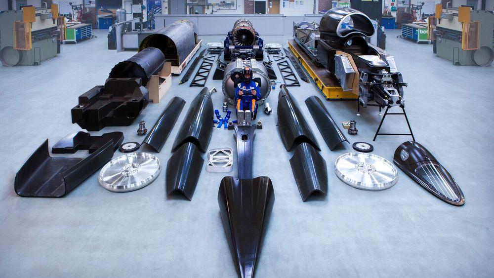 Her er alle komponentene på det som skulle blitt verdens raskeste landkjøretøy.