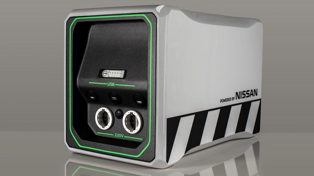 Nissan EnGuard-konseptet inkluderte det portable batteriet som kan erstatte et aggregat. Nå kommer et lignende produkt på markedet.