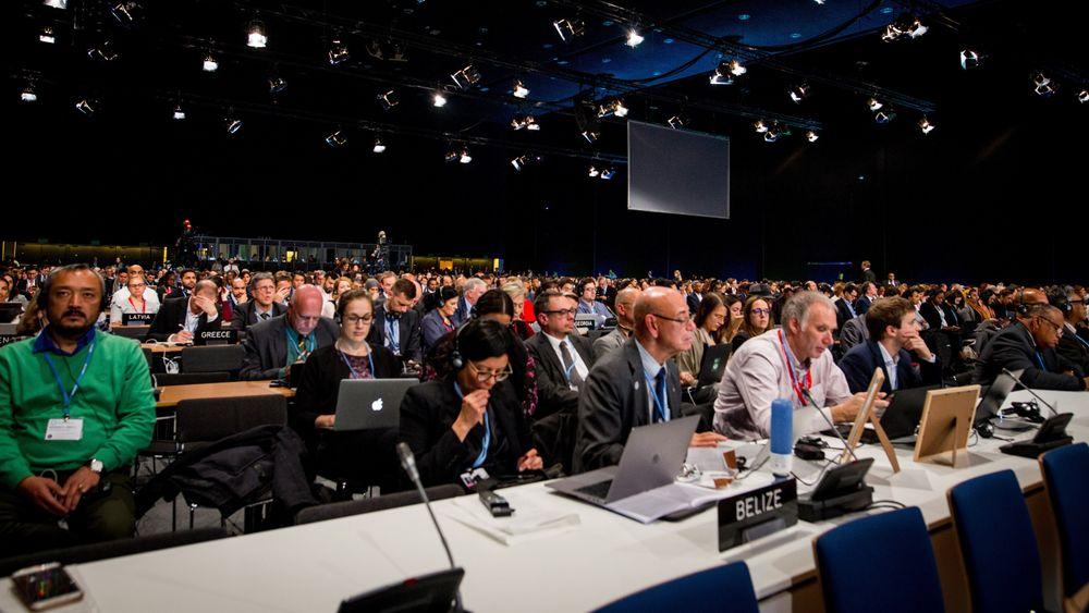 Foto fra plenumsrommet 13. desember på COP24 klimakonferansen som ble avsluttet i polske Katowice i helgen.