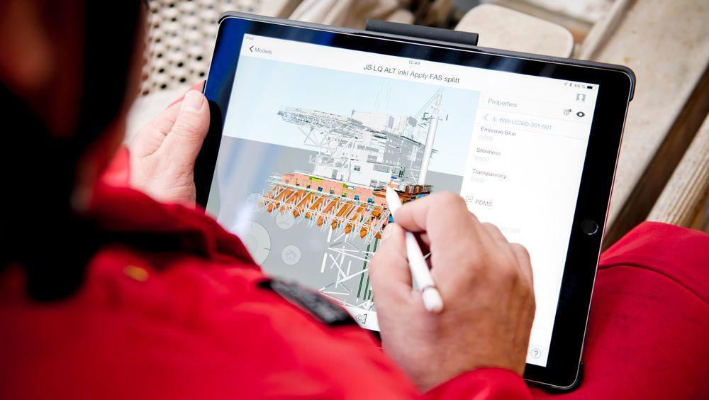 Arbeidstegninger sammen med 3D-modeller av det som bygges, skal alltid være oppdaterte og tilgjengelige via skjermen på telefon eller nettbrett.