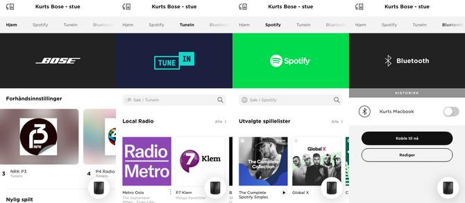 Skjermbilder fra Bose Music-appen.