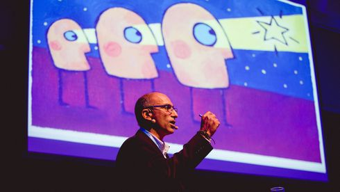 Microsofts teknologidirektør Shahzad Rana på Digital 2018-konferansen.