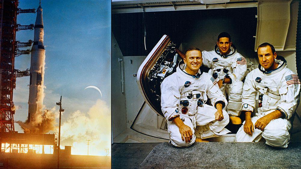 Apollo 8 starter fra Kennedy Space Center 21. desember 2968. Det var første gang en Saturn V ble benyttet i en bemannet oppskyting. Astronautene om bord var Frank F. Borman, James A. Lovell og William A. Anders. Anders ble senere amerikansk ambassadør i Norge.