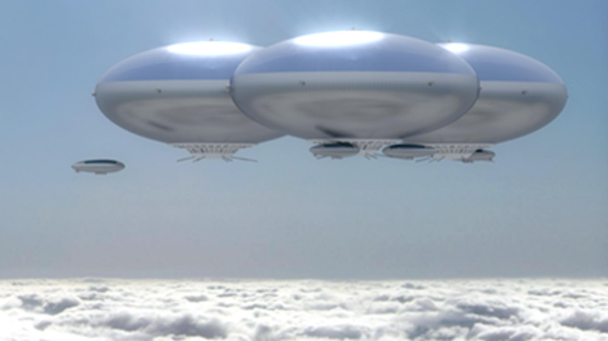 Nytt konsept for bemannede Venus-luftskip: Oppdriften kommer fra en justerbar blanding av oksygen og nitrogen som kan pustes. Luftskipene skal kunne blåses rundt planeten av vinder.
