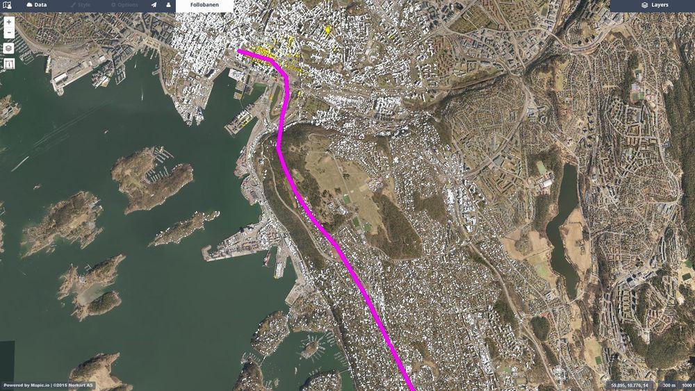 Eksempel på resultat fra InSAR-målinger med web-basert innsynsløsning fra Oslo S-området i forbindelse med et prosjekt for Bane Nors bygging av Follobanen.