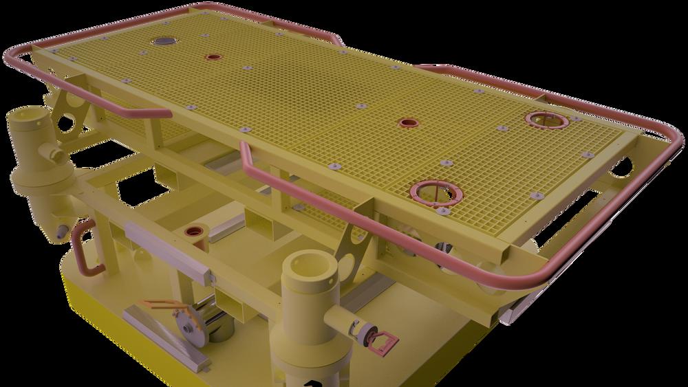 Ladestasjonen består av en base som står på havbunnen, og en utskiftbar flat plattform som dronen kan hvile på. Lading og utveksling av data og oppgaver, skjer ved kontaktløs kobling i det øverste hullet.