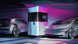 Konsepttegning av Volkswagens kommende mobile ladestasjon.