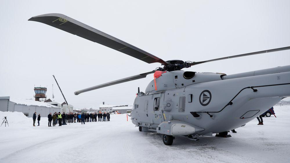 Et av de nye NH90-helikoptrene da det landet på Kjeller ved Lillestrøm i januar i fjor.