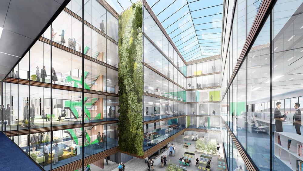 Slik blir Lysgården på Sluppen i Trondheim, som skal huse kontorer for flere aktører i byggebransjen.
