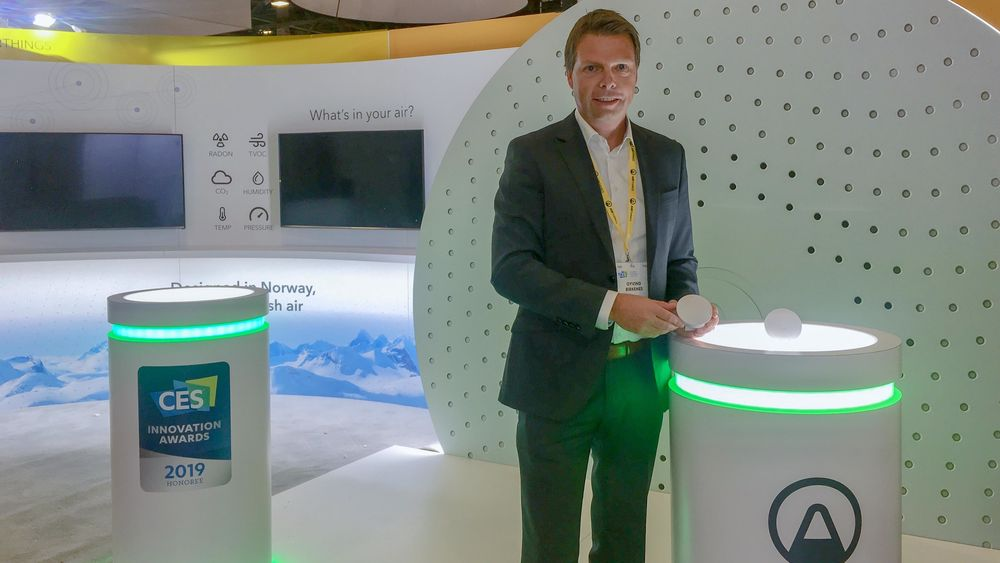 Hver år på CES: Airthings-sjef Øyvind Birkenes gjør som mange andre: Lanserer nye produkter en gang i året, og legger lanseringen til CES i Las Vegas.