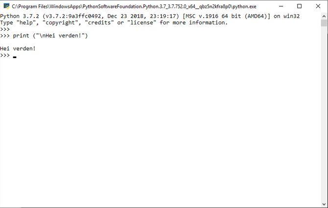 Python 3.7 installert fra Microsoft Store som kjøres i PowerShell på Windows 10.