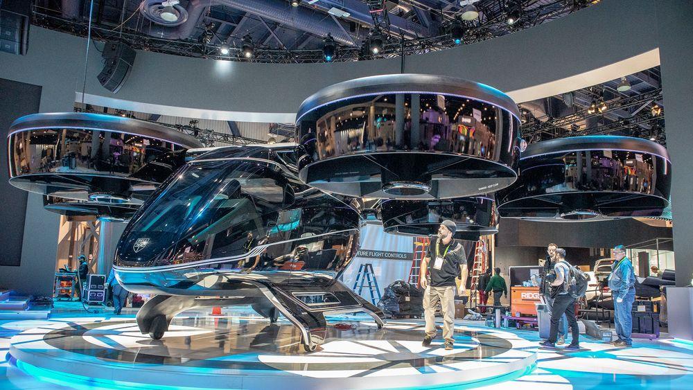 Ennå ikke flyvbar, men likevel til å  bli entusiastisk av: Bell Nexus har seks vifter og kan ta av og lande vertikalt. Vel i luften kan viftene snus og brukes til fremdrift sammen med de små vingene.