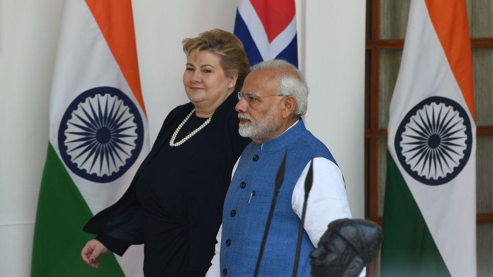 Erna Solberg og Indias statsminister, Narendra Modi, møttes til samtaler i Hyderabad House i New Delhi under Solbergs statsbesøk som ble avsluttet i dag.