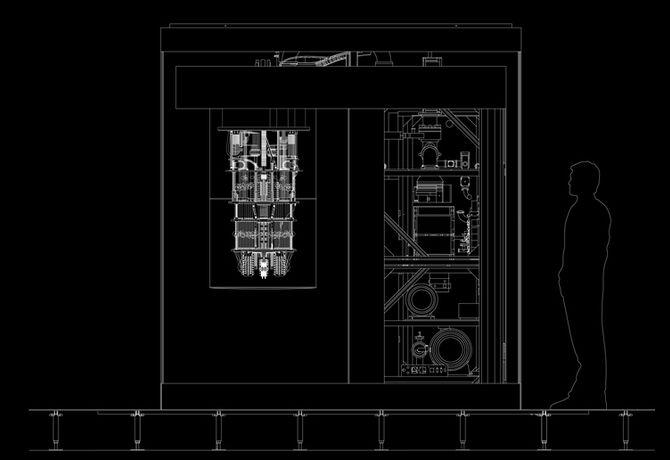 Gjennonskåret skisse av kvantedatamaskinen IBM Q System One. En mannsfigur er plassert ved siden av for å demonstrere størrelsesforholdet.