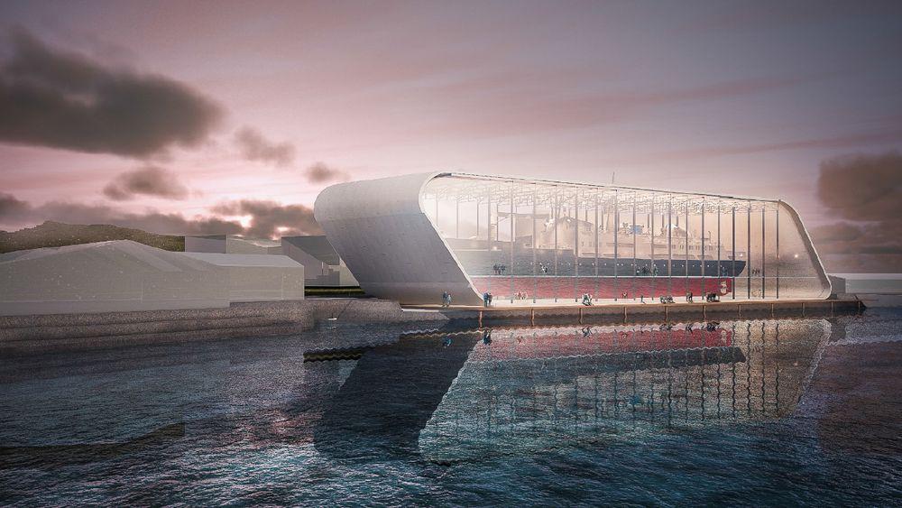 I et bygg med store glassfasader skal MS Finnmarken fra 1953 i det nye Hurtigrutemuseet.
