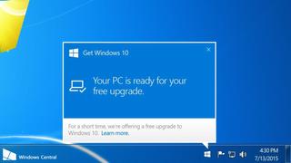 Dialogboks i eldre Windows-versjon som inviterer til oppgradering til Windows 10.