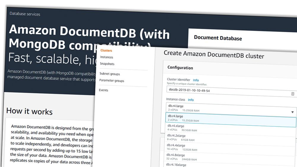 Amazon DocumentDB skal være kompatibel med MongoDB 3.6.
