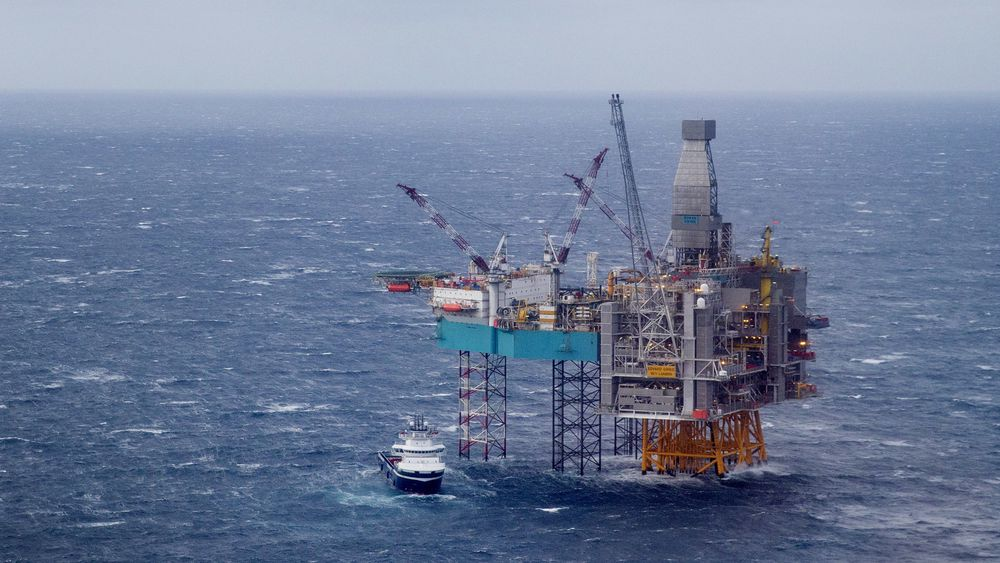 Halvparten av Norges  billion-eksportinntekter var det olje og gass som stod for i 2018. Bildet er fra Edvard Grieg-feltet på Utsirahøyden i Nordsjøen.