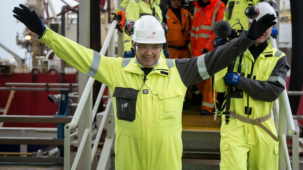 Olje- og energiminister Kjell-Børge Freiberg delte tirsdag ut 83 nye letelisenser på norsk sokkel. Her åpner han landstrømforsyningen til Johan Sverdrup, i fjor.