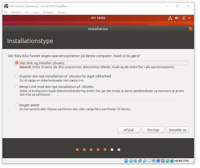 """Dialogboks """"Installasjon"""" i Virtualbox, med valg for type installasjon og om man ønsker å kryptere den virtuelle disken."""