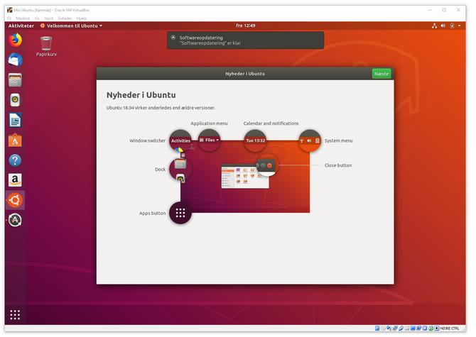Skrivebordet til Ubuntu Linux kjører i et Virtualbox-vindu.