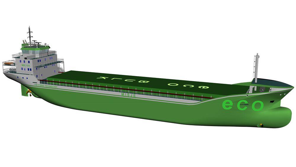 MDC har designet nytthybrid bulkskip på 5.000 dødvekttonn. Det er 89 meter langt og 15 meter bredt. Misje Rederi spør verft om pris og håper å tegne kontrakt på to med opsjoner før sommeren 2019.