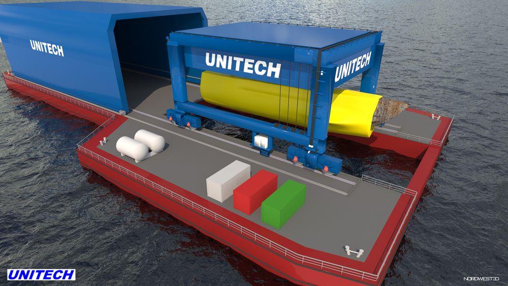 En slik lekter med verkstedhall, kran og åpning i bunnen vil Unitech bygge. Luker i dekk skal kunne lukkes hydraulisk etter at ubåtvraket er hevet og henger i krana.