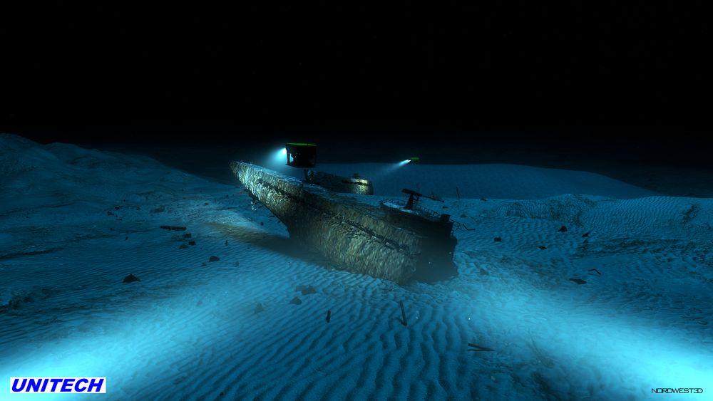 Ubåten U-864 som ble delt i to av torpedo i 1945 ligger i mørket på 150 meters dyp. Dette er en animasjon basert bl.a. sonarbilder av vraket.