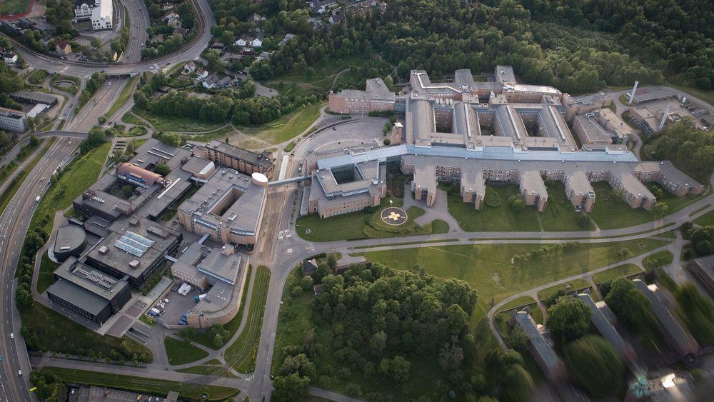 Her til venstre for dagens Rikshospital i Oslo er planen å bygge et nytt sykehus på opp til 15 etasjer til sammen nesten 100.000 kvadratmeter.