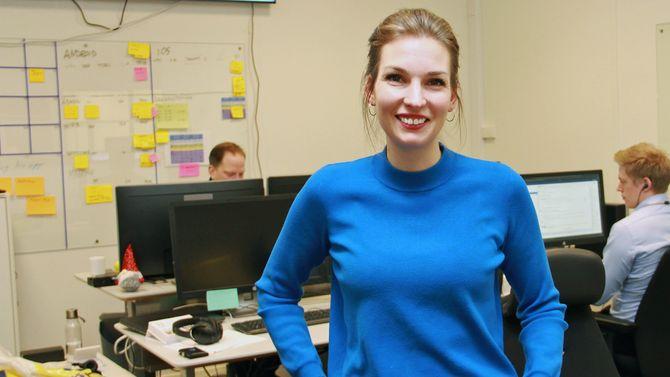 Spinn-leder Stine Bakke-Haugseth hos Fremtind i lokalene til Spinn-teamet.