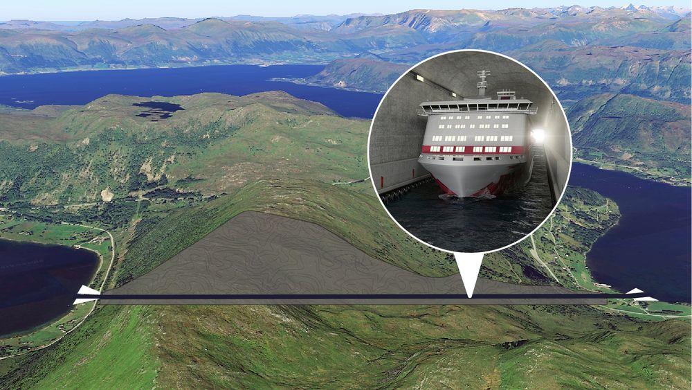 Hullet skal bores i traseen, som går gjennom fjellet fra Moldefjorden ved Selje (til venstre) til Vanylvsfjorden til høyre.
