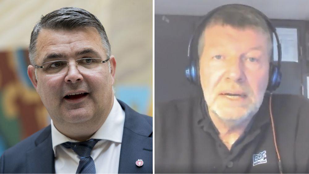 Olje og energiminister Kjell-Børge Freiberg (til venstre) synes ikke makspris på strøm, som Kurt Pedersen har satt i gang et folkeopprop om, er en god idé.