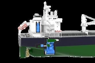 Illustrasjonen viser plassering av scrubber bak dekkshus (blå enhet). De grønne enheter og tanker inngår i et NOx-rensesystem med katalysator og urea (SCR) for å tilfredsstille Tier III-krav.