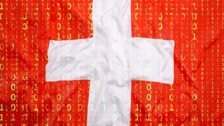Det sveitsiske flagget med binærkode i det røde.