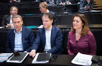 MPI-sjef Rolv Erik Ryssdal, finansdirektør Trond Berger og konsernsjef Kristin Skogen Lund i Schibsted. Her fra kvartalspresentasjon 13. februar 2019.