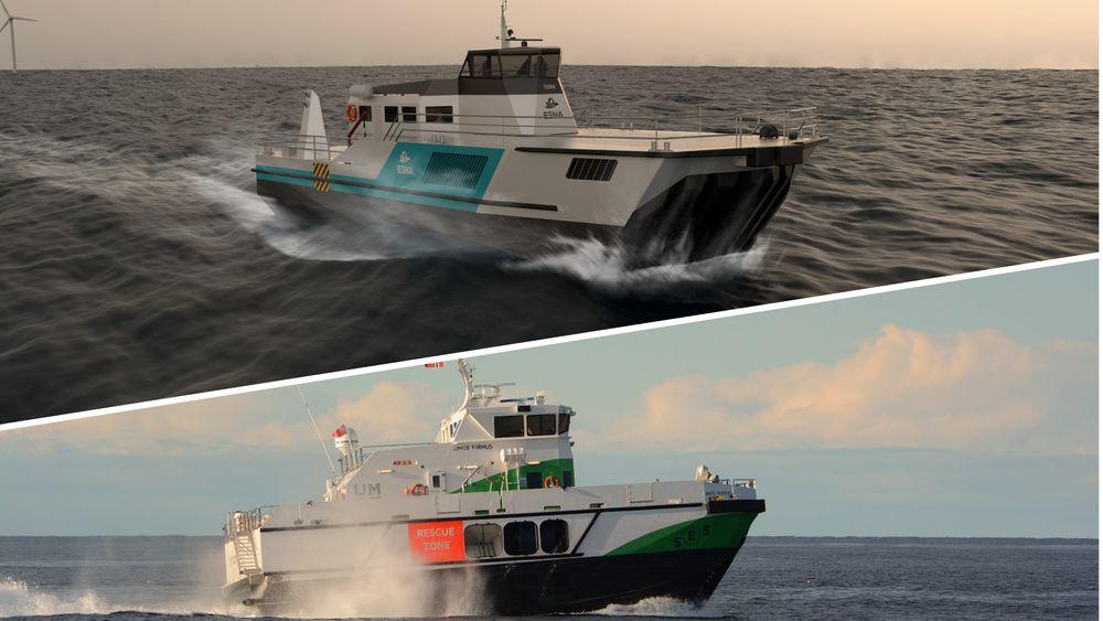 Nederst Umoe Firmus, en båt som bruker Wavecraft-konseptet til Umoe. Over er Ternen-designet til Esna.